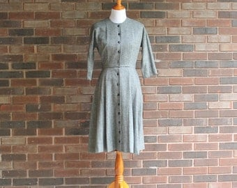 1950s Grey Wool Work Dress