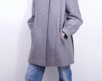 perfect vintage gray minimalist wool coat Women's SZ MEDIUM women's vintage coat wool coat