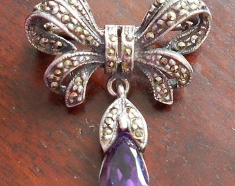 Vintage Marcasite & Silver Brooch with Amethyst Drop, 925 Silver Bow Brooch, Art Deco Era