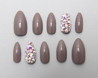 Almond Grey with Full Swarovski Accent Nails | Press On Nails | Fake Nails | False Nails | Glue On Nails | Acrylic Nails | Handpainted