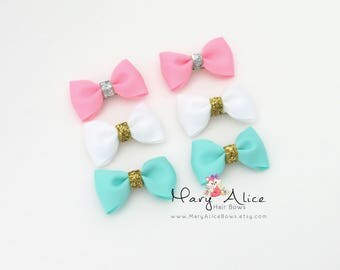 """Baby Hair Bow Set of 3 Pairs- 2.5"""" Glitter Hair Bows, Aqua Bows, Pink Bows, French Barrette, Girls Hair Bow, Toddler Hair Bow- Made to Order"""