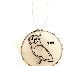 Owl Birch Wood Slice Ornaments. Owl ornament. Rustic Christmas Decor. Bird Ornaments. 2017 ornament. Bird Christmas tree tags.