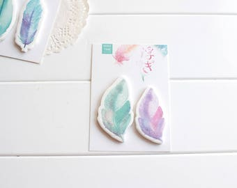 Pretty Feather Sticky Notes, Watercolour Sticky Notes, Feather Stickers, Post-it notes (SN-103)