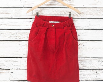 Vintage corduroy skirt / Corduroy red skirt / High waisted skirt / 90's