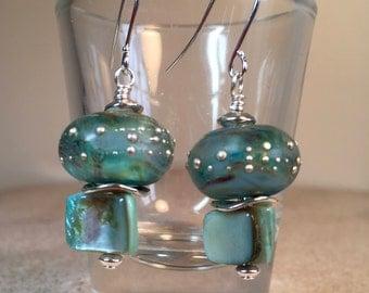 Ocean Blue, Artisan glass earrings, Shell earrings, Ocean blue earrings, Ocean earrings, Beach earrings, Blue and silver, Unique earrings