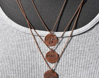 Penny Necklace | Personalized Penny | Penny Charm | Choose Your Word | Hand Stamped Penny | Inspirational Necklace | Inspirational Jewelry