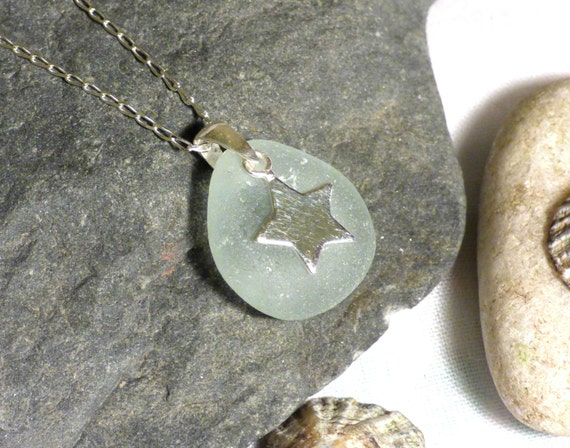 Pale Blue Sea Glass Pendant Necklace with Sterling Silver Star Charm - goth pagan starry night emo witch witchy hippie nomad - PF16004