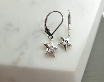 Super Star Dangle Earrings, Sterling Silver Starmen, Invincible Star Leverbacks, Nintendo Inspired Drop Earrings