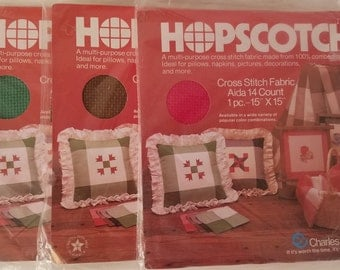"""3 Packs Charles Craft Hopscotch Cross Stitch Fabric 14 Count Aida Red Green Brown 15"""" x 15"""" Each"""