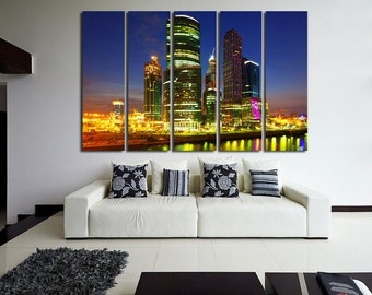 Large Wall Cityscape Canvas Color Multipanel Canvas City Tower Art Large  1-3-4-5 Panel Towers Print