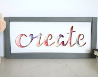 Create Cutout Wood Sign 15X7 - Framed Wood Sign - Maker Sign - Craft Room Sign - Office Décor - Girl Boss - Creative Space Sign - Wood Sign
