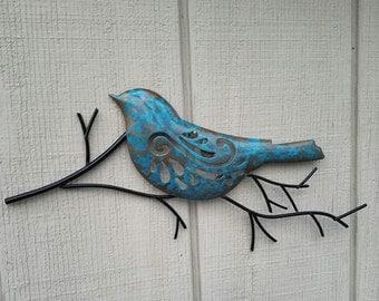 Metal Wall Art, Home Decor, Bird Wall Art, Black Metal Wall Decor, Metal Wall Decor, Metal Leaf Decor, Bird On Branch, Patina Metal Wall Art