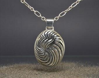 Large pendant, silver necklace, exclusive pendant, oval pendant, silver jewelry, ladies necklace, openwork necklace.