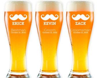 Groomsmen Pilsner Glasses - Mustache Beer Glass - Groomsmen Beer Glass - Custom Groomsmen Gifts - Engraved Wedding Glassware Set of 3 -GW949