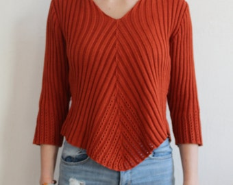 90s Vintage Cropped Top for Woman Orange Crop Top Pullover V Neck Medium