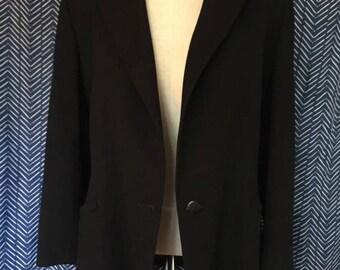 Jaeger Women's Black Wool Blazer (Size 12 / Lined)