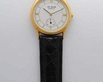 SAXONY watch - vintage - quartz - unisex watch - leather strap watch - 1990s - Golden dial - Roman numerals watch