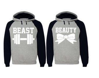 Beast Beauty Raglan Hoodies for Couples Fitness Valentine's Couple Sweaters Matching Gym Clothes Pärchen Pullover King Queen Gifts for Him