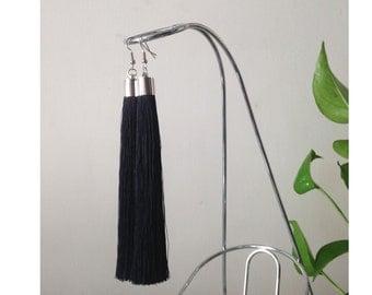 BLACK fringe earrings, Long tassel earrings, clip on earrings, long bohemian earrings, hippie earrings, long gypsy earrings, maxi earrings