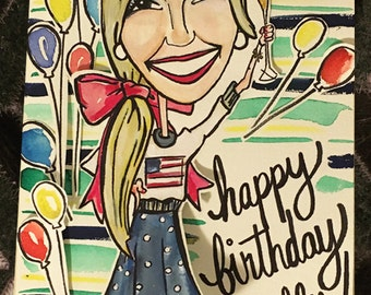 Custom Hand Painted Caricatures & Greeting Cards