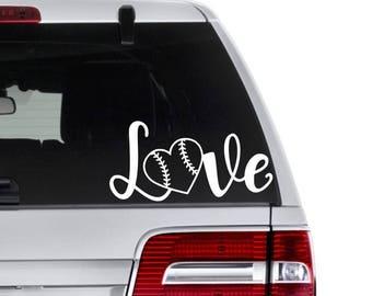 Baseball Love Decal, Baseball Decal, Sports Mom Gift, Baseball Lover Gift, Baseball Car Decal, Softball Lover Gift, Decal for Coach, Sports