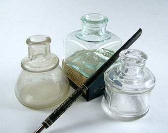 3, Antique Bottle, Thomas, Aqua, Ink Bottles, Old Bottles, Vintage Bottle, Cone Ink Bottles, Bottle Collection, Colored Bottles, Ink, Quill
