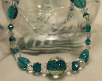 Teal lampwork, crystal & glass choker