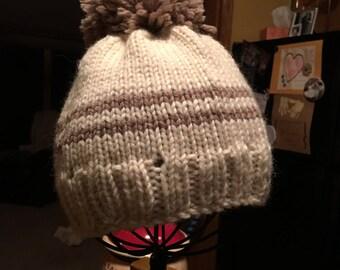 Small boy beanie/stocking cap with pom pom