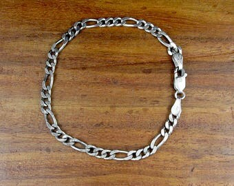 925 Sterling Men's Thick Figaro Chain Bracelet – Vintage