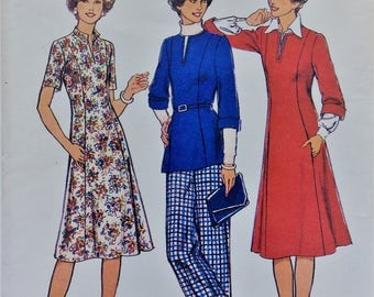 Vintage 1970's Style sewing pattern 1727 - Misses' and women's dress or top and trousers