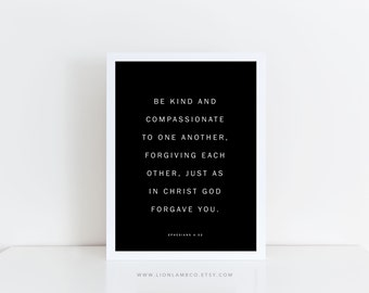 Ephesians 4:32 — Modern Letter Board Print — Wall Art Printable Modern Minimal Home Decor Simple Lifestyle Bible Verse Scripture