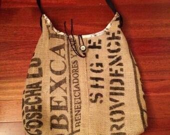Handmade burlap tote bag