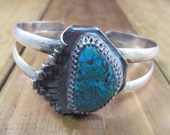 Vintage Turquoise Bracelet Naturel Patina Look Adjustable Size Cuff Style Bracelet