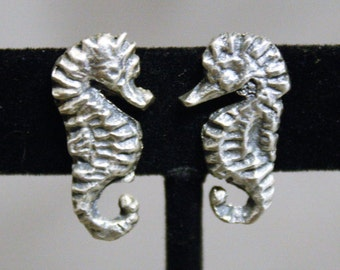 Sterling Silver Seahorse Screwback Earrings Vintage Ocean Sea Beach Nautical Gifts Jewelry Boating Diving Sailor Shore Outer Banks OBX