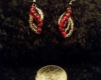 Ruby Red Spiral Earrings - Hematite Hooks