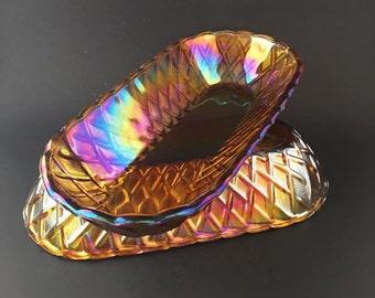 Vintage Iridescent Merigold Carnival Glass Bread Baskets/Bowls (Set of 2)
