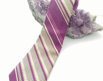 Vintage Purple Striped tie - FREE US SHIPPING