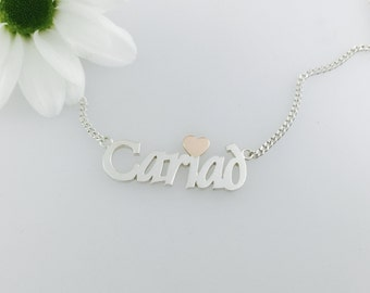 Cariad Love Necklace Silver & 9ct Rose Gold , handmade in Wales. Welsh for love