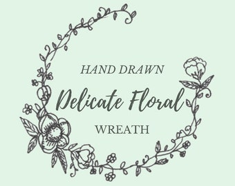 Hand Drawn Delicate Floral Wreath- line drawing, flowers, plants, botanical, rustic, romantic