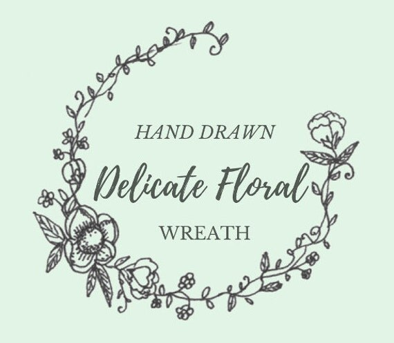 Hand Drawn Delicate Floral Wreath Line Drawing Flowers
