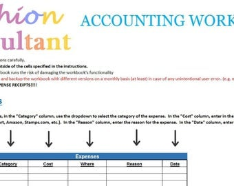 Fashion Consultant Accounting, Taxes, Expenses, Revenue, Profit - Excel Workbook Spreadsheet 2017