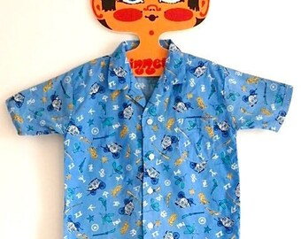 Hank Shirt Blue: 1970s vintage childs cowboy shirt