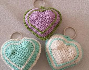 Crochet hearts keychain