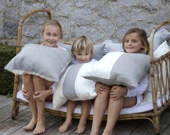 "Belgian linen throw pillow cushion cover Up Island side stitch  20""x20"" linen home decor"
