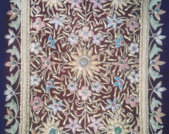 Amazing Complex Floral Indian Traditional Zardozi Embroidery Wall Hanging For Home Decoration And Can Also Be A Gift