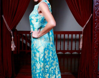 1960's Vintage Couture Silk Evening Gown