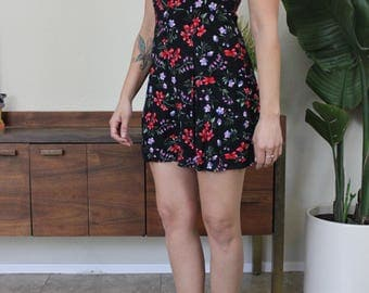 Vintage 90's Romper Black with Colorful Flowers