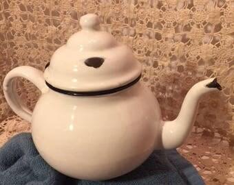 Vintage Chippy White Enamelware Teapot