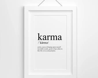 Karma Definition, Karma Print, Print, Karma Quote, Printable, Download, I saw that
