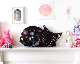 DIY KIT - VARIED colours - cat cushion softie plush floral - throw pillow - cats black white illustrated nursery decor stuffing not included